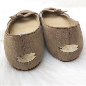 Jimmy Choo Shoes - Jimmy Choo Coarse Suede Gold Leather Ballet Flats